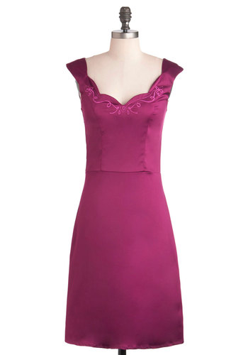 This Magenta Moment Dress - Solid, Shift, Cocktail, Long, Cap Sleeves, Wedding, Bridesmaid, Scallops, Purple