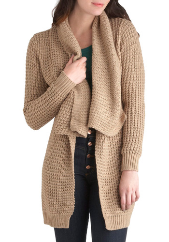 Lake Cottage Cardigan in Floating Dock - Tan, Solid, Casual, Rustic, Long