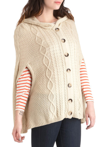 If You're Cable Cardigan - Cream, Solid, Buttons, Knitted, Casual, Hoodie, Mid-length