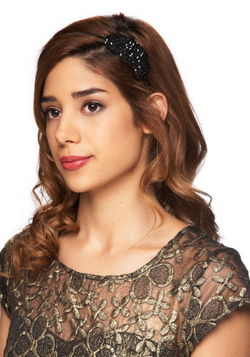 Twinkle for Yourself Headband - Black, Beads, Formal, Prom, Wedding, Party, Holiday Party
