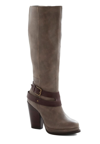 Tom Foolery Boot by Seychelles - Grey, High, Chunky heel, Leather, Vintage Inspired, Luxe, Rustic, Fall, Brown