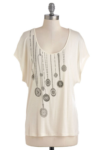 Trompe Loyal Top by Gentle Fawn - Mid-length, White, Grey, Print, Casual, Short Sleeves