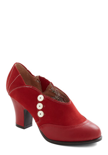 Ticket To Stride Heel by Miss L Fire - Mid, Leather, Red, White, Buttons, Party, Work, Casual, Vintage Inspired, 20s