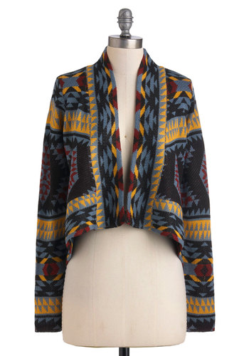 Rustic Dreams Cardigan by BB Dakota - Multi, Print, Cocktail, Long Sleeve, Fall, Short