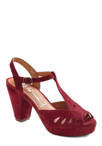 That Girl is Boysenberry Heel by Jeffrey Campbell - Red, Solid, Cutout, Peep Toe, Slingback, Mid, Leather, Party, Vintage Inspired, Best, T-Strap