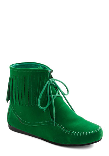 Upgrade Your Green Bootie - Flat, Green, Solid, Fringed, Boho, Fall, Holiday Sale