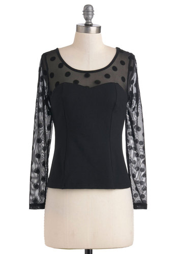 You Really Dot Me Top - Sheer, Black, Polka Dots, Party, Sweetheart, Short