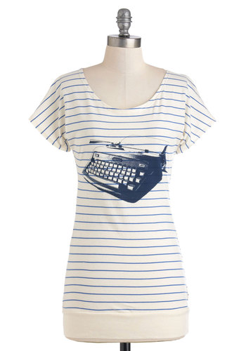 My Type of Tee Top by FluffyCo - Cream, Blue, Stripes, Casual, Short Sleeves, Long