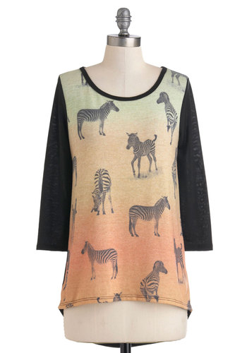 Wildlife As We Know It Top - Black, 3/4 Sleeve, Mid-length, Orange, Print, Casual
