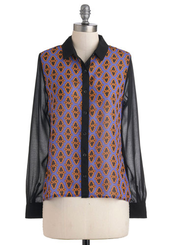 Emblem of Excellence Top - Purple, Brown, Black, Buttons, Long Sleeve, Sheer, Mid-length, Work