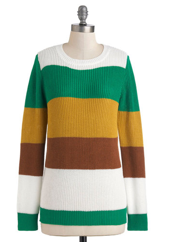 Horti-cultured Sweater - Multi, Yellow, Green, Brown, White, Stripes, Casual, Long Sleeve, Mid-length, Menswear Inspired, Fall