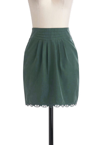 Hemlocks of Love Skirt by Gentle Fawn - Short, Green, Solid, Pleats, Pockets, Scallops, Work, Casual