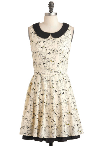 It's Hoot You Know Dress by Yumi - Cream, Blue, Print with Animals, Peter Pan Collar, Casual, Vintage Inspired, Sleeveless, Fit & Flare, Mid-length, Owls