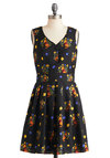 Welcome Back, Critter Dress by Yumi - Blue, Yellow, Blue, Print with Animals, Flower, Pleats, A-line, Sleeveless, Mid-length