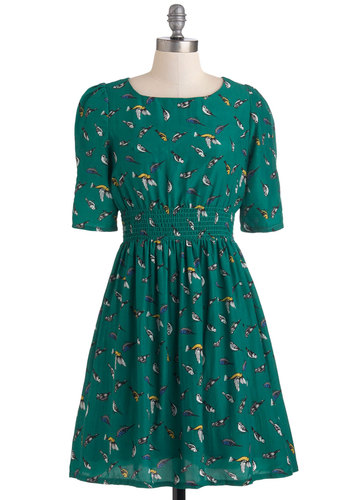 Life's a Finch Dress by Yumi - Green, Print with Animals, Work, Casual, 3/4 Sleeve, A-line, Mid-length, Multi