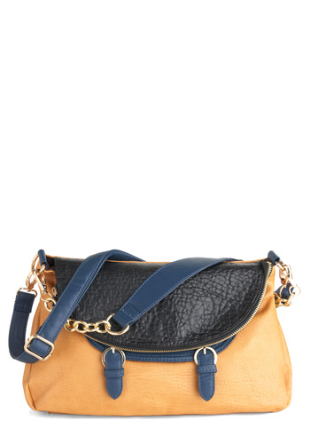 Enthrall the World Bag - Chain, Solid, Faux Leather, Orange, Blue, Buckles, Casual, Tis the Season Sale