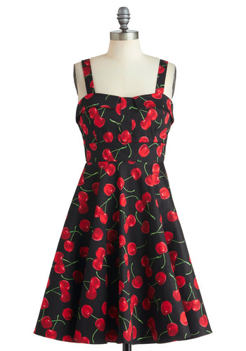 Pull Up a Cherry Dress in Black - Mid-length, Cotton, Red, Black, Novelty Print, Party, 50s, Fruits, Fit & Flare, Spaghetti Straps, Pinup, Best Seller, Variation
