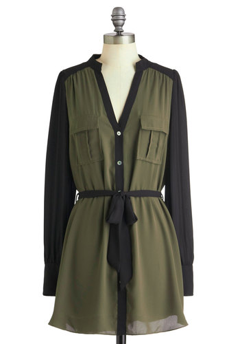 So Close, Yet Safari Tunic - Green, Black, Buttons, Pockets, Long Sleeve, Belted, Sheer, Long, Casual, Safari