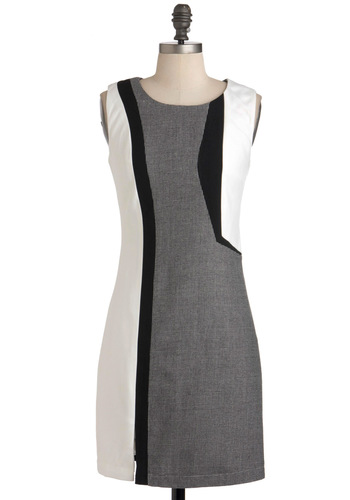 Optimal Illusion Dress - Multi, Black, Grey, White, Work, Sheath / Shift, Sleeveless, Mid-length, 60s, Mod, Press Placement