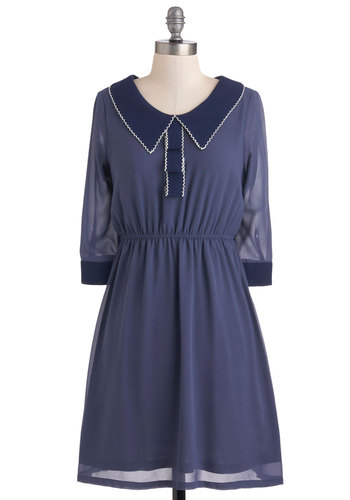 Blueberry Ribbon Dress - Mid-length, Blue, Solid, Casual, A-line, Long Sleeve, Collared, Trim