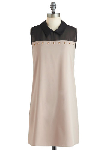 Art of the Conical Dress - Tan, Black, Studs, Sleeveless, Mid-length, Solid, Shift, Collared, Party, Casual, Urban