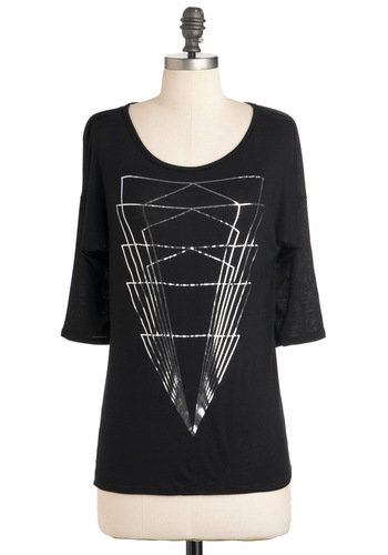 Light Showstopper Top - Black, Casual, Mid-length, Sheer, Jersey, Silver, Print, 3/4 Sleeve, Travel