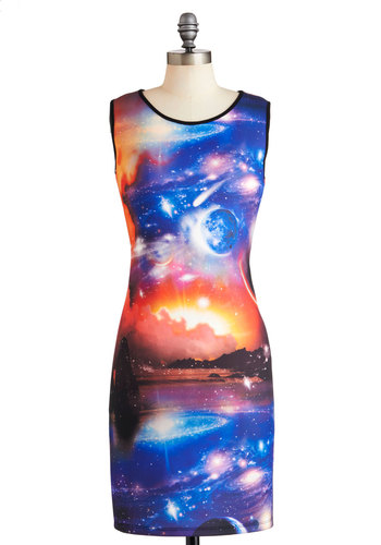 Cosmic Sea Dress - Multi, Red, Blue, White, Sleeveless, Mid-length