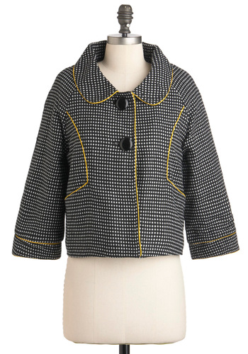 Lunch Plans Jacket - Short, 2, Yellow, Black, White, Polka Dots, Buttons, Trim, Work, 3/4 Sleeve, Fall