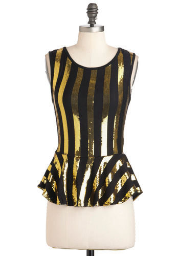 Headlining DJ Top - Black, Gold, Stripes, Party, Peplum, Sleeveless, Mid-length