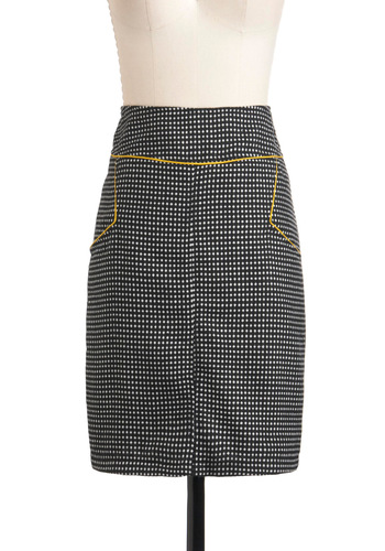 Lunch Plans Skirt - Mid-length, Yellow, Black, White, Polka Dots, Work, Pencil, Fall