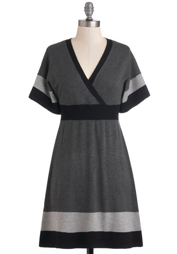 Monochrome Sweet Home Dress - Grey, Black, Casual, Short Sleeves, Fall, Sweater Dress, Mid-length