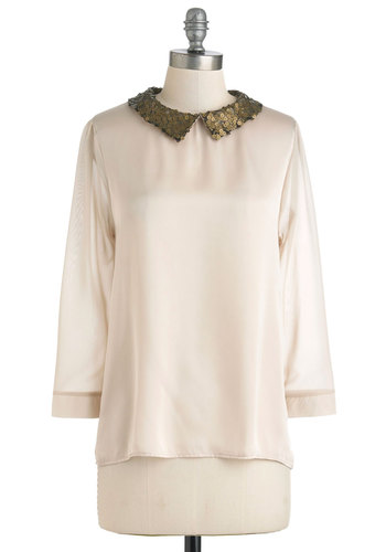 Way You Make Me Frill Top - Cream, Pink, Gold, Sequins, Long Sleeve, Mid-length, Sheer, Party, Vintage Inspired, Statement