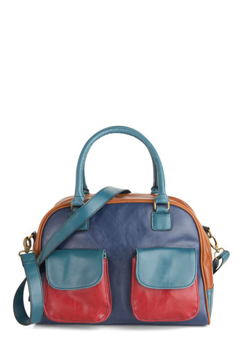 All of My Color Bag by Louche - Multi, Colorblocking, Pockets, Casual, Blue, International Designer