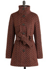 Angle of the Morning Coat by Jack by BB Dakota - Long, 3, Brown, Herringbone, Long Sleeve, Fall