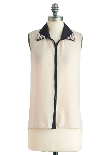 Dressin' Uptown Top - Cream, Black, Sleeveless, Mid-length, Sheer, Buttons, Rhinestones, Party, Urban