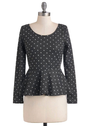 Dot the Average Top - Grey, White, Polka Dots, Peplum, Long Sleeve, Mid-length, Casual