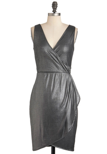 Pewter Specialist Dress by Jack by BB Dakota - Solid, Party, Short, Sleeveless, Silver, Holiday Party, Sheath / Shift, V Neck