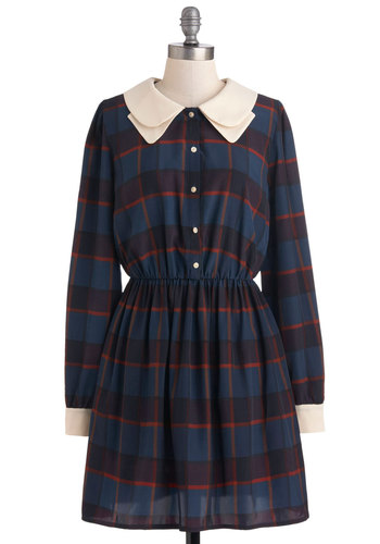 Natalie's Stop, Glamour Time Dress by Miss Patina - Mid-length, Blue, Red, Tan / Cream, Plaid, Buttons, Pockets, Casual, Shirt Dress, Long Sleeve, Fall, Collared, Vintage Inspired, Scholastic/Collegiate, International Designer