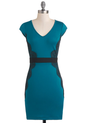 Up Teal Dawn Dress - Blue, Black, Solid, Lace, Shift, Cap Sleeves, Party, Mid-length
