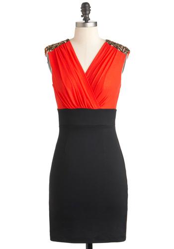 Haute and Cool Dress - Red, Sequins, Party, Twofer, Sleeveless, Mid-length, Black, Exposed zipper, Girls Night Out