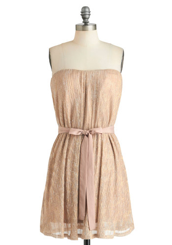 Honey Side of Life Dress - Tan, Solid, Strapless, Mid-length, Party, A-line, Holiday Party, Luxe