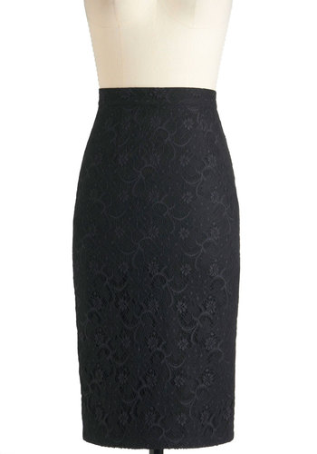 Dimension in Detail Skirt by Bettie Page - Black, Solid, Lace, Party, Work, Pencil, Long, Pinup, 60s, Press Placement, Black