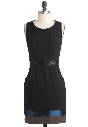 Ashley's Project Confidence Dress - Black, Blue, Sheath / Shift, Sleeveless, Short, Grey, Exposed zipper, Pockets, Party