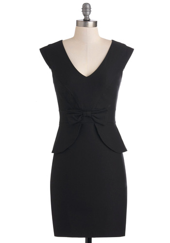 Panel Moderator Dress in Black - Black, Solid, Bows, Work, Peplum, Sleeveless, Shift, Mid-length, Party, Pinup, LBD