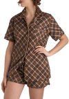 Midnight Baking Pajamas - Brown, Plaid, Pockets, Button Down, Short Sleeves, Collared, Tan / Cream, Cotton