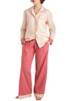 Fashion and Beauty Rest Pajamas in Pink - Red, White, Print, Pockets, Button Down, Collared, Long Sleeve