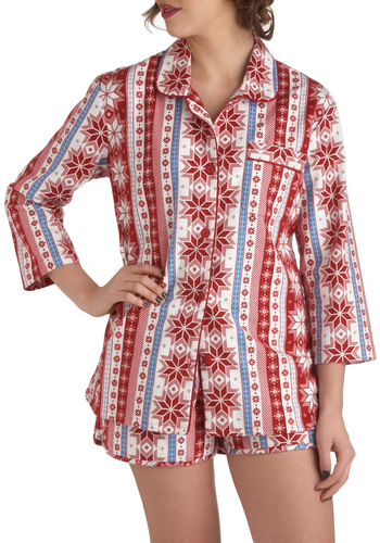 Late Night Stories Pajamas - Multi, Print, Pockets, Button Down, 3/4 Sleeve, Collared, Holiday, Winter