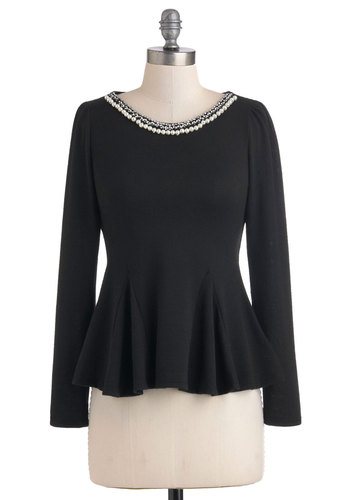 Have a Godet Top - Mid-length, Black, Solid, Pearls, Rhinestones, Peplum, Long Sleeve, Cocktail, Party