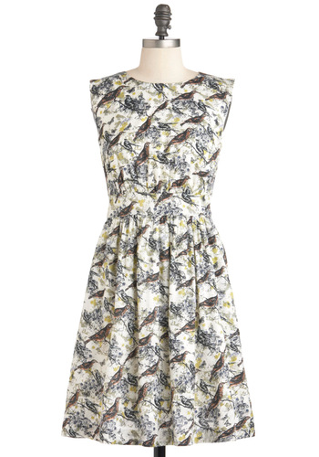 Too Much Fun Dress in Bird by Emily and Fin - Cream, Brown, Print with Animals, Casual, A-line, Sleeveless, Folk Art, Quirky, Mid-length, Pockets, International Designer, Variation, Pinup