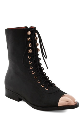 Pinkie Toes Boot by Jeffrey Campbell - Black, Pink, Steampunk, Leather, Lace Up, Party, Casual, 90s, Fall, Low